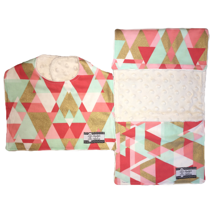 Bib and Burp Cloth Set - Coral, Mint and Gold Triangles