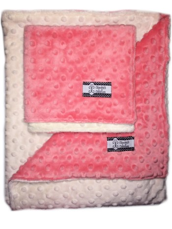 Minky Gift Set- Coral and Cream Lovie and Stroller Blanket