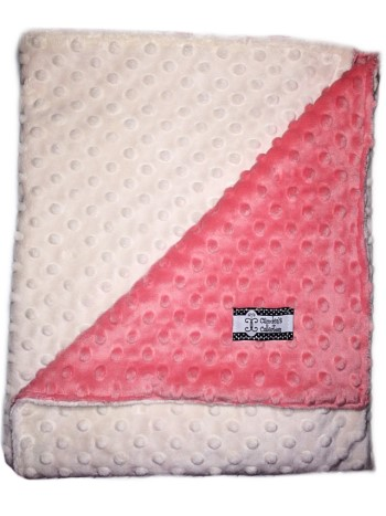 Stroller Blanket - Coral and Cream Dimple Dot Minky