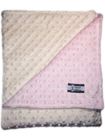 Stroller Blanket - Baby Pink Minky Dimple Dot and Cream Minky Dot