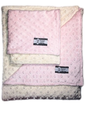 Minky Gift Set- Pink and Cream Lovie and Stroller Blanket