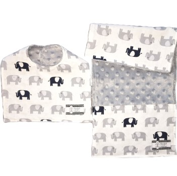 Bib and Burp Cloth Set - Elephants