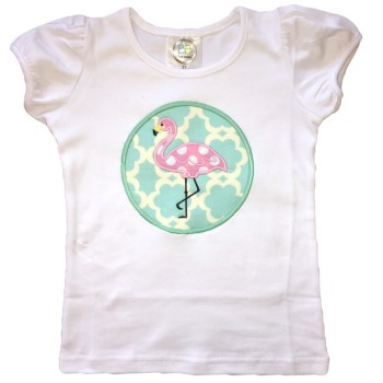 Applique Tee - Fancy Flamingo