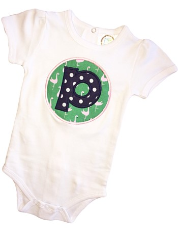 Letter Applique Tee - Navy Dots on Green Flamingos