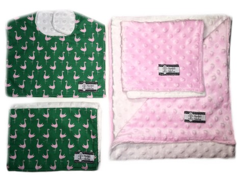 4-Piece Gift Set- Flamingos Bib, Burp, Lovie, and Stroller Blanket