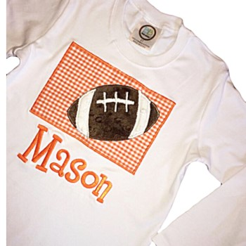 Applique Tee - Football on Choice Gingham or Seersucker Color 2