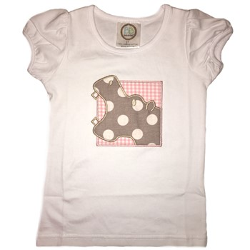 Applique Tee - Hungry Hippo on Pink Gingham