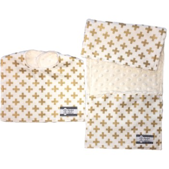 Bib and Burp Cloth Set - Gold Crosses
