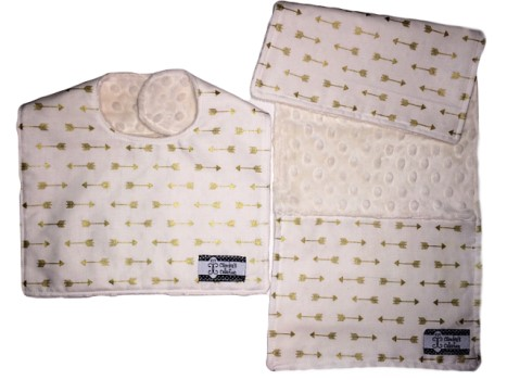 Bib and Burp Cloth Set - Gold Arrows on Cream