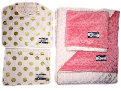 4-Piece Gift Set- Gold Dots Bib, Burp, Lovie, and Stroller Blanket