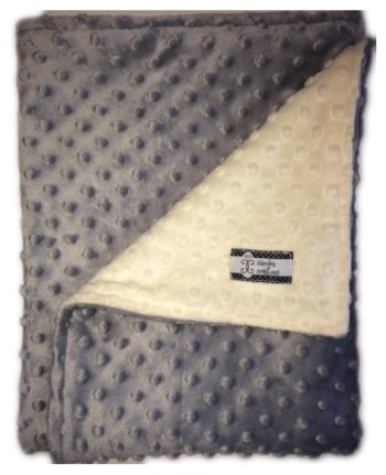 Stroller Blanket - Gray Minky Dimple Dot with Cream Dimple Dot