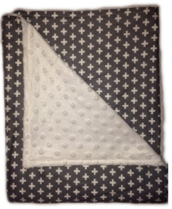 Stroller Blanket - Gray Crosses on White Minky Dimple Dot
