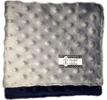Lovie - Navy on Gray Dimple Dot Minky