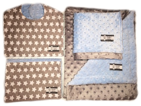 4-Piece Gift Set- Stars Bib, Burp, Lovie, and Stroller Blanket