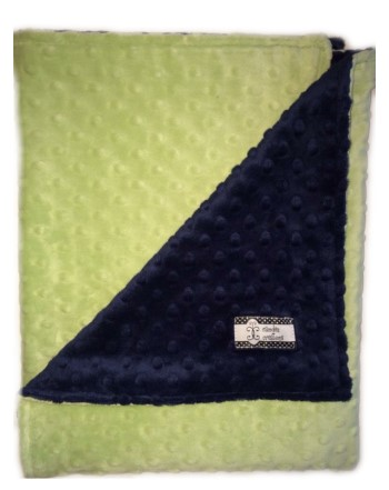 Stroller Blanket - Navy Minky Dimple Dot with Mint Green Dimple Dot