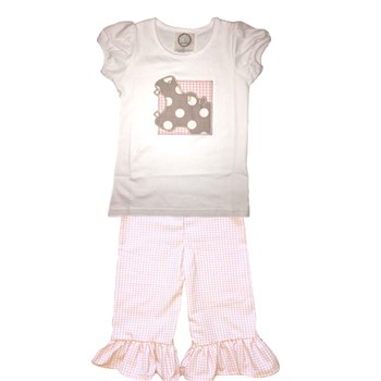 Ruffle Pants Hippo Set- Pink Gingham