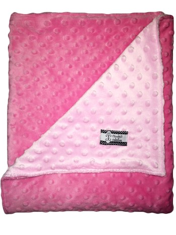 Stroller Blanket - Baby Pink on Hot Pink Dimple Dot MInky