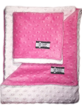 Minky Gift Set- Hot Pink and White Lovie and Stroller Blanket