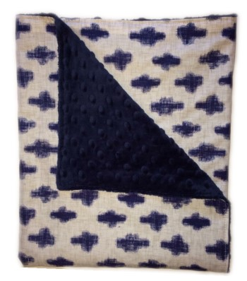 Stroller Blanket - Indigo Crosses on Navy Minky Dimple Dot