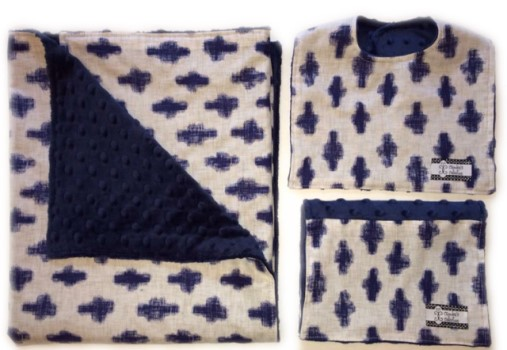 Gift Set- Indigo Crosses Bib, Burp and Stroller Blanket