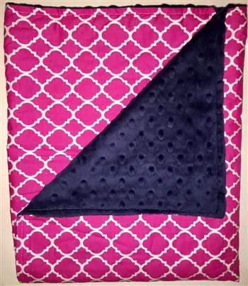 Stroller Blanket - Magenta Lattice  on Navy Minky Dimple Dot