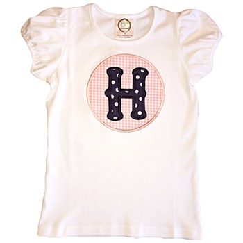 Letter Applique Tee - Navy Dots on Pink Gingham