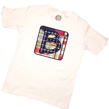 Letter Applique Tee - Anchors on Madras Patchwork