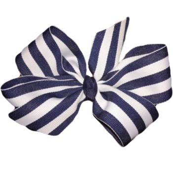 Large Bow- Navy and White Stripe