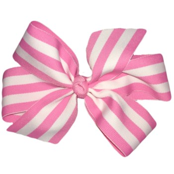 Large Bow- Pink and White Stripe