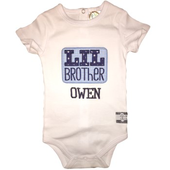 Applique Tee - Little Brother on Blue Gingham