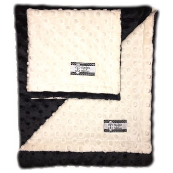 Minky Gift Set- Cream on Black Lovie and Stroller Blanket