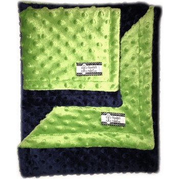 Minky Gift Set- Navy on Green Lovie and Stroller Blanket