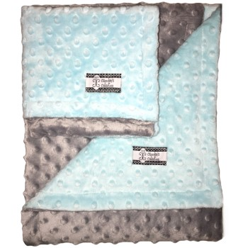 Minky Gift Set- Aqua and Gray Lovie and Stroller Blanket