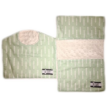 Bib and Burp Cloth Set - Mint Triangles