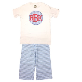 Straight Pants Monogrammed Set- Blue Gingham