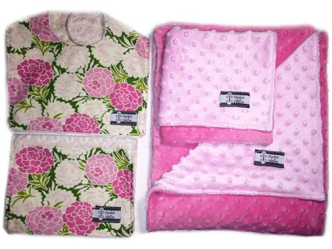 4-Piece Gift Set-  Mums Bib, Burp, Lovie, and Stroller Blanket