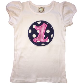 Birthday Tee - Hot Pink Gingham on Navy Polka Dots