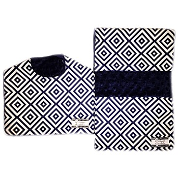 Bib and Burp Cloth Set - Navy Diamonds