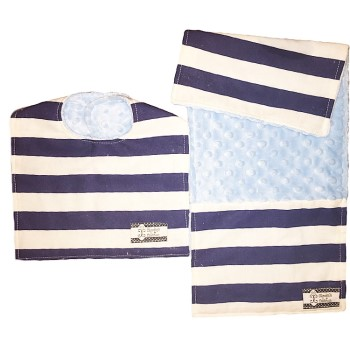 *Bib and Burp Cloth Set - Navy Stripes on Baby Blue