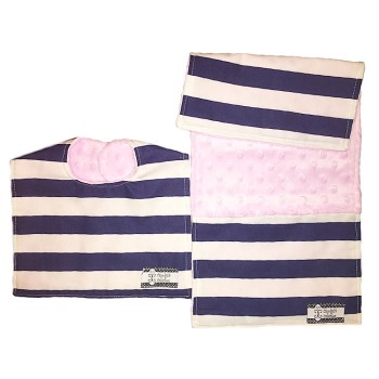 *Bib and Burp Cloth Set - Navy Stripes on Baby Pink