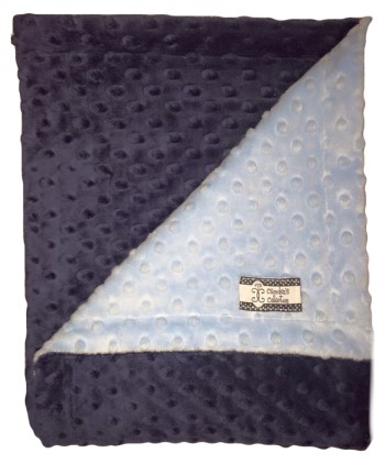 Stroller Blanket - Navy Minky Dimple Dot with Baby Blue Dimple Dot