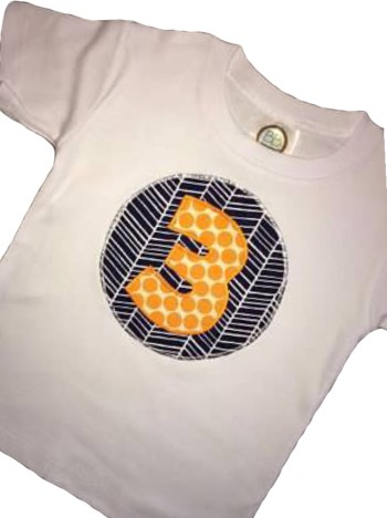 Birthday Tee - Orange Dots on Navy Herringbone