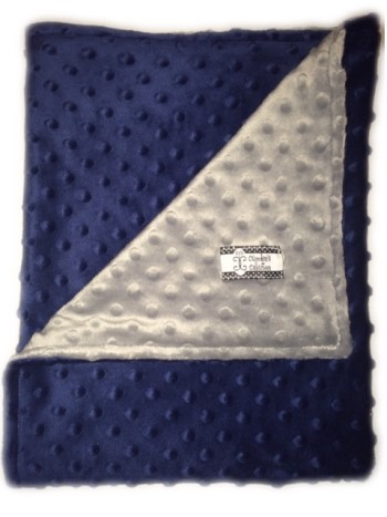 Stroller Blanket - Navy Minky Dot with Gray Minky Dot