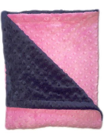 Stroller Blanket - Navy Minky Dimple Dot with Hot Pink Dimple Dot