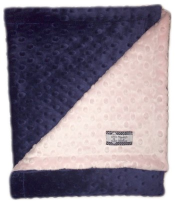 Stroller Blanket - Navy Minky Dimple Dot with Pale Pink Dimple Dot