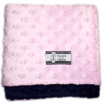 Lovie - Navy on Pink Dimple Dot Minky