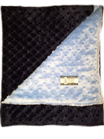 Stroller Blanket - Navy on Sky Blue Dimple Dot Minky