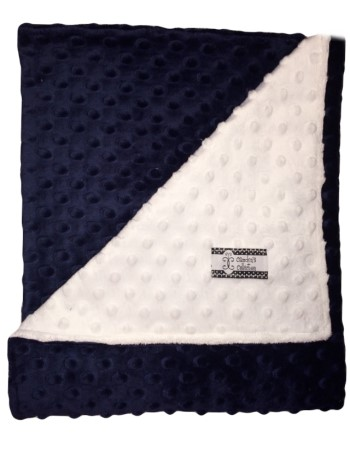 Stroller Blanket - Navy on White Dimple Dot Minky