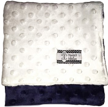 Lovie - Navy on White Minky Dot