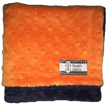 Lovie - Navy on Orange Dimple Dot Minky